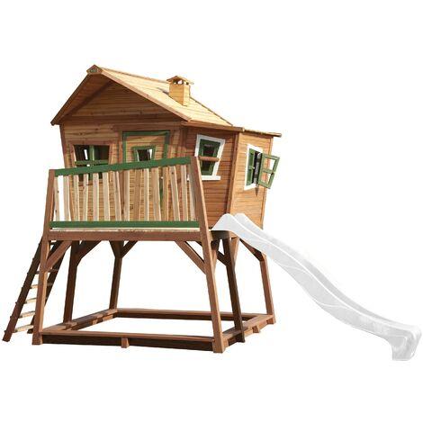 AXI Max Maison Enfant avec Bac à Sable & Toboggan Blanc | Aire de Jeux pour l'extérieur en marron & vert | Maisonnette / Cabane de Jeu en Bois FSC