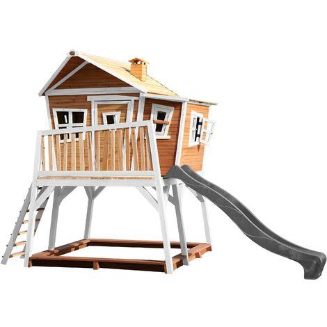 AXI Max Maison Enfant avec Bac à Sable & Toboggan gris | Aire de Jeux pour l'extérieur en marron & blanc | Maisonnette / Cabane de Jeu en Bois FSC