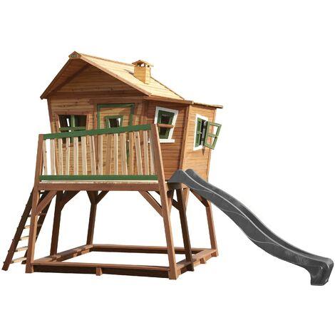 AXI Max Maison Enfant avec Bac à Sable & Toboggan Gris | Aire de Jeux pour l'extérieur en marron & vert | Maisonnette / Cabane de Jeu en Bois FSC