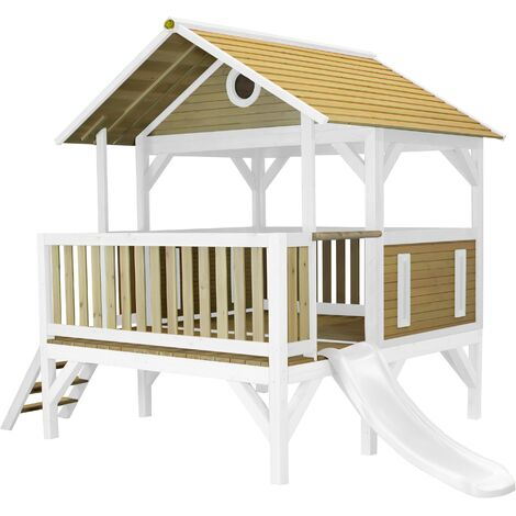 AXI Meeko Maison Enfant avec Toboggan Blanc | Aire de Jeux pour l'extérieur en marron & blanc | Maisonnette / Cabane de Jeu en Bois FSC