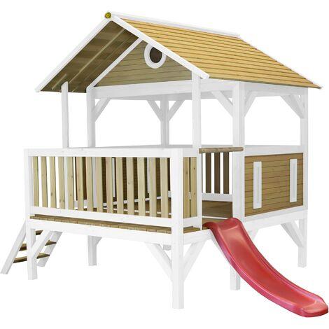 AXI Meeko Maison Enfant avec Toboggan Rouge | Aire de Jeux pour l'extérieur en marron & blanc | Maisonnette / Cabane de Jeu en Bois FSC