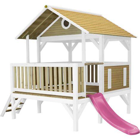AXI Meeko Maison Enfant avec Toboggan Violet | Aire de Jeux pour l'extérieur en marron & blanc | Maisonnette / Cabane de Jeu en Bois FSC