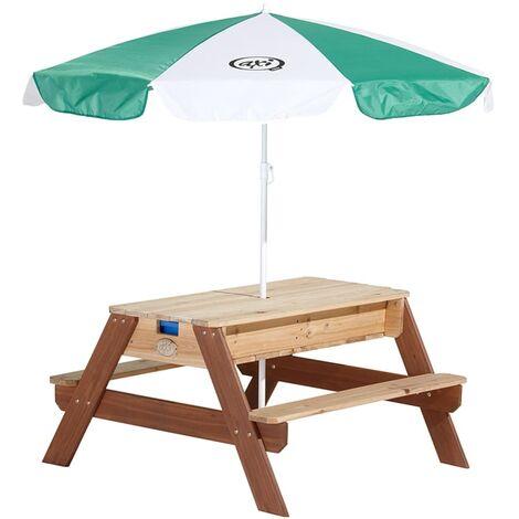 AXI Mesa de picnic arena/agua con sombrilla Nick - Marrón