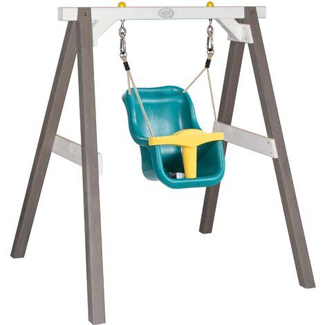 AXI Portique en Bois Gris / Blanc – Balançoire Bébé | Balançoire turquoise / jaune pour les enfants à partir de 9 mois | Balançoire pour l'extérieur / le jardin