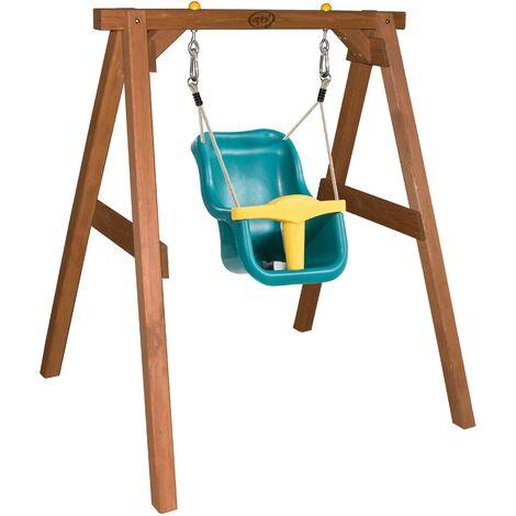 AXI Portique en Bois Marron – Balançoire Bébé | Balançoire turquoise / jaune pour les enfants à partir de 9 mois | Balançoire pour l'extérieur / le jardin