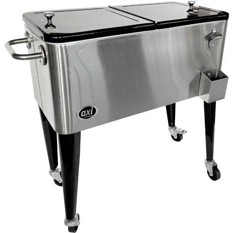 AXI Retro Cooler Inox | Réfrigérateur de boissons mobile pour l'extérieur / le jardin | Glacière 76 litre