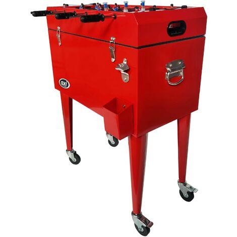 AXI Retro Cooler Rouge avec Babyfoot | Réfrigérateur de boissons mobile pour l'extérieur / le jardin | Glacière 76 litre