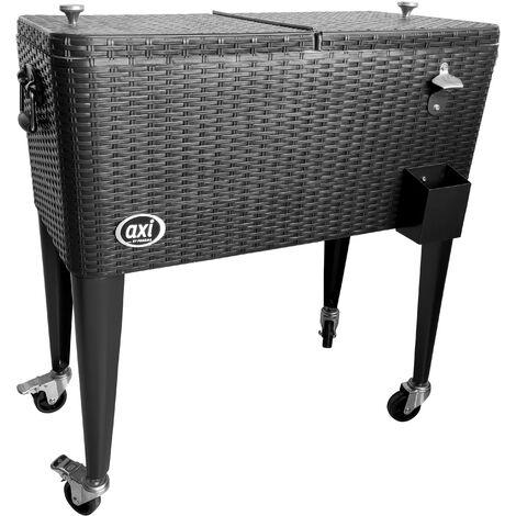 AXI Retro Cooler Wicker Noir | Réfrigérateur de boissons mobile pour l'extérieur / le jardin | Glacière 76 litre