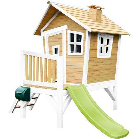 AXI Robin Maison Enfant avec Toboggan Vert clair | Aire de Jeux pour l'extérieur en marron & blanc | Maisonnette / Cabane de Jeu en Bois FSC
