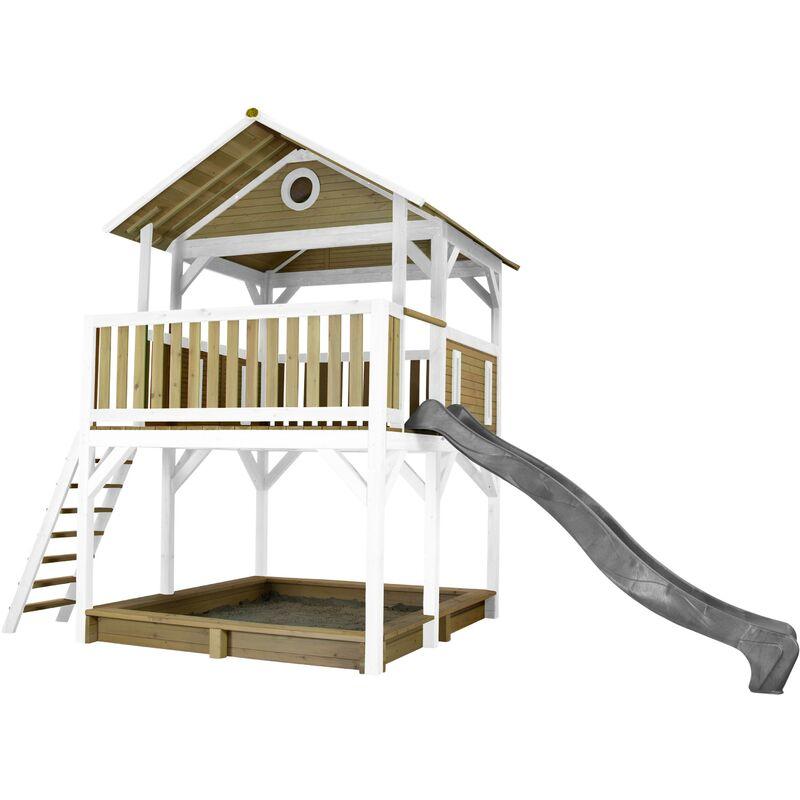 AXI Simba Maison Enfant avec Bac à Sable & Toboggan gris | Aire de Jeux pour l'extérieur en marron & blanc | Maisonnette / Cabane de Jeu en Bois FSC
