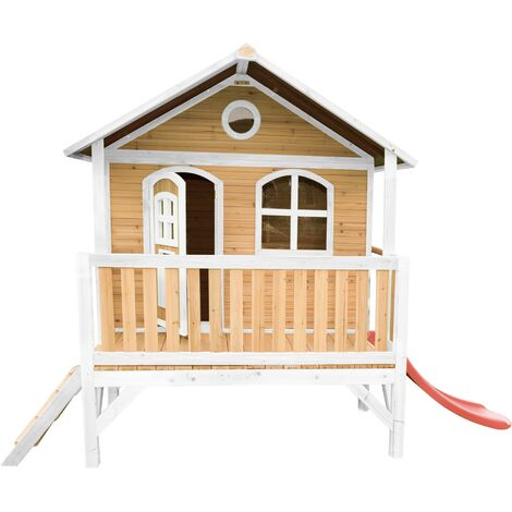 AXI Stef Maison Enfant avec Toboggan rouge | Aire de Jeux pour l'extérieur en marron & blanc | Maisonnette / Cabane de Jeu en Bois FSC