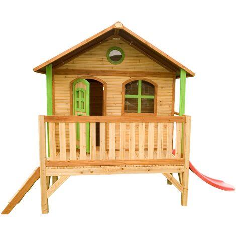 AXI Stef Maison Enfant avec Toboggan rouge   Aire de Jeux pour l'extérieur en marron & vert   Maisonnette / Cabane de Jeu en Bois FSC