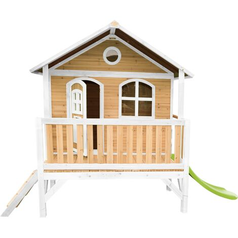AXI Stef Maison Enfant avec Toboggan vert clair | Aire de Jeux pour l'extérieur en marron & blanc | Maisonnette / Cabane de Jeu en Bois FSC