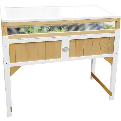 AXI Table de Culture en bois avec Bac & Voile de Jardin | Potager sur Pied / Jardinière avec serre en marron & blanc