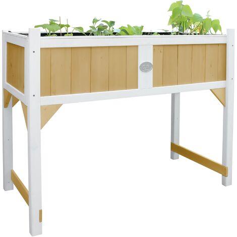 AXI Table de Culture en bois avec Bac & Voile de Jardin | Potager sur Pied / Jardinière en marron & blanc