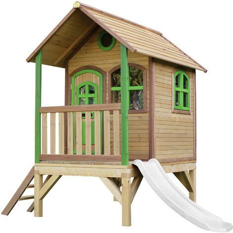 AXI Tom Maison Enfant avec Toboggan Blanc | Aire de Jeux pour l'extérieur en Marron & Vert | Maisonnette / Cabane de Jeu en Bois FSC