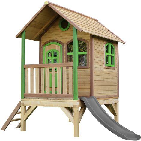 AXI Tom Maison Enfant avec Toboggan Gris | Aire de Jeux pour l'extérieur en Marron & Vert | Maisonnette / Cabane de Jeu en Bois FSC