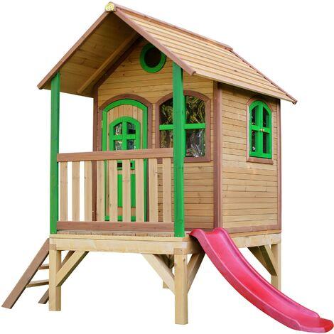 AXI Tom Maison Enfant avec Toboggan rouge   Aire de Jeux pour l'extérieur en marron & vert   Maisonnette / Cabane de Jeu en Bois FSC