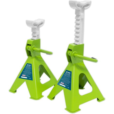 Axle Stands (Pair) 2tonne Capacity per Stand Ratchet Type - Hi-Vis Green