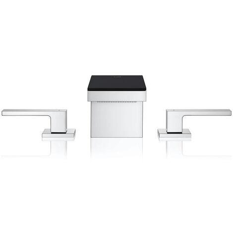 Axor Umyvadlová baterie s výpustí Push-Open, 3-otvorová instalace, chrom/černé sklo