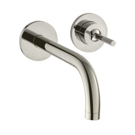 AXOR Uno Single lever basin mixer with spout 225 mm and escutcheons wall-mounted, Brushed Nickel (38116820)