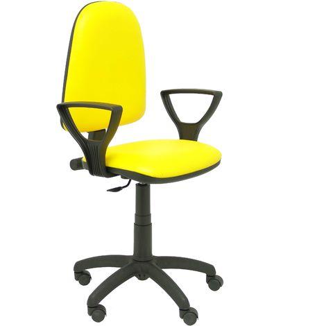 Ayna Similpiel, chaise jaune avec accoudoirs