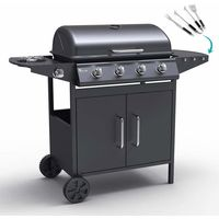 AYRSHIRE Gas grill BBQ made of stainless steel with 4+1 burners and barbecue grill