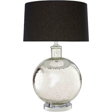 Aysel Table Lamp, Glass/Metal Finish, Black Linen Shade