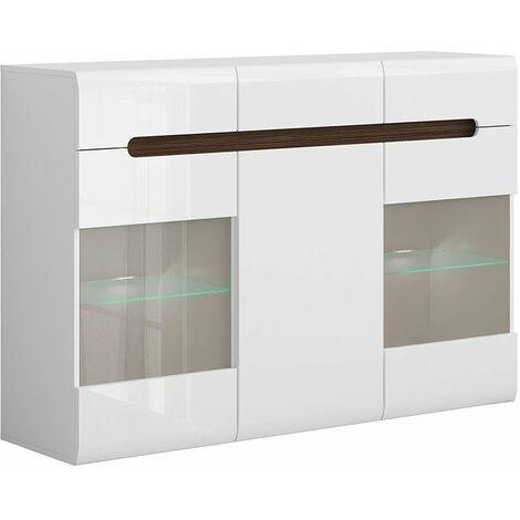 AZALIA - Buffet style moderne salon/salle à manger - 150x104x41 - 3 portes 3 tiroirs - Meuble de salon Enfilade - Blanc