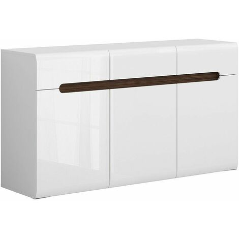 AZALIA - Buffet style moderne salon/salle à manger - 150x84x41 - 3 portes 3 tiroirs - Meuble de salon Enfilade - Blanc