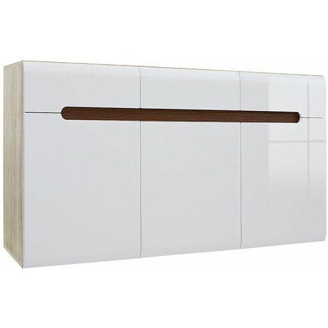 AZALIA - Buffet style moderne salon/salle à manger - 150x84x41 - 3 portes+3 tiroirs - Meuble de salon Enfilade - Blanc