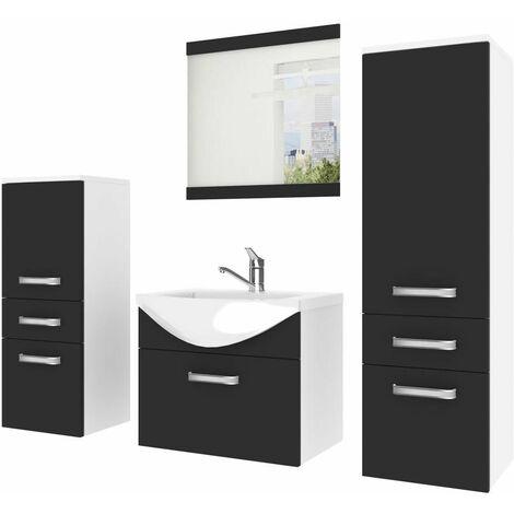 AZKOA | Ensemble meubles salle de bain 5 pièces 50cm | Miroir + Lavabo + Meuble sous lavabo | Vasque céramique - Noir/Blanc