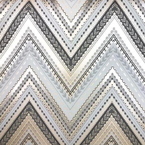 Aztec Chevron Wallpaper Retro Arrows Textured Metallic Luxury Modern Grandeco