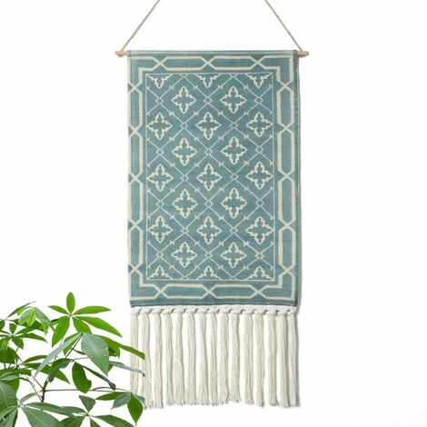 Aztec Macrame Wall Hanging Bohemian Style Handmade Cotton Banner with Fringes and Copper Rod for Children's Room (MS-Litaowan-Star)