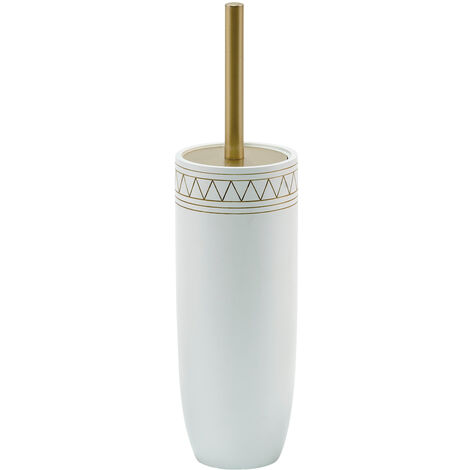 Aztec Toilet Brush & Holder/Satin Gold