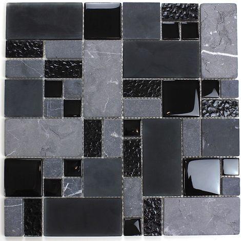 Azulejo de baño y cocina mosaico negro mvp-shadow