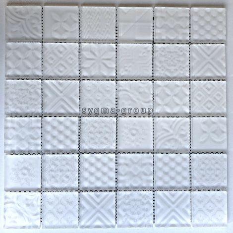 Azulejo de vidrio blanco mosaico pared o piso baño y cocina mv-oskar