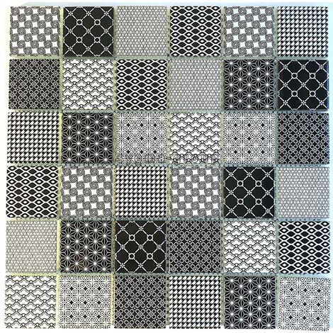 Azulejo de vidrio patrón negro cocina de pared y baño mv-salax