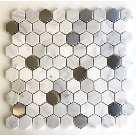 Azulejo hexagonal malla mosaico de mármol suelo y pared modelo NUNO