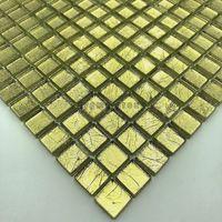 Azulejo malla mosaico hoja de vidrio color oro para pared mv-hedra-or