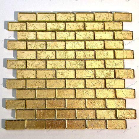 Azulejo malla mosaico hoja de vidrio color oro para pared TESSA OR