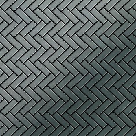 Azulejo mosaico de metal sólido Acero bruto laminado gris oscuro 1,6 mm de grosor ALLOY Herringbone-RS 0,85 m2