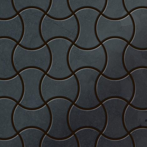 Azulejo mosaico de metal sólido Acero bruto laminado gris oscuro 1,6 mm de grosor ALLOY Infinit-RS diseñado por Karim Rashid 0,91 m2