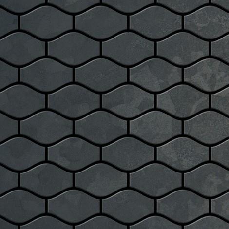 Azulejo mosaico de metal sólido Acero bruto laminado gris oscuro 1,6 mm de grosor ALLOY Karma-RS diseñado por Karim Rashid 0,86 m2
