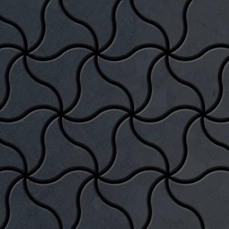 Azulejo mosaico de metal sólido Acero bruto laminado gris oscuro 1,6 mm de grosor ALLOY Ninja-RS diseñado por Karim Rashid 0,67 m2