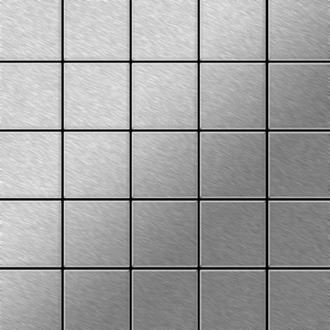 Azulejo mosaico de metal sólido Acero inoxidable cepillado gris 1,6 mm de grosor ALLOY Century-S-S-B 0,5 m2