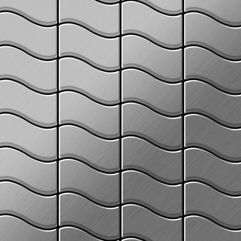 Azulejo mosaico de metal sólido Acero inoxidable cepillado gris 1,6 mm de grosor ALLOY Flux-S-S-B diseñado por Karim Rashid 0,86 m2