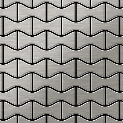 Azulejo mosaico de metal sólido Acero inoxidable cepillado gris 1,6 mm de grosor ALLOY Kismet-S-S-B diseñado por Karim Rashid 0,86 m2