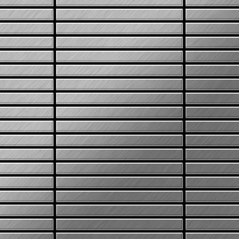 Azulejo mosaico de metal sólido Acero inoxidable cepillado gris 1,6 mm de grosor ALLOY Linear-S-S-B 0,94 m2