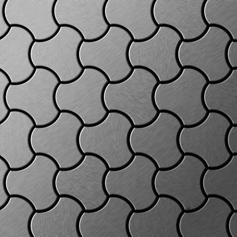 Azulejo mosaico de metal sólido Acero inoxidable cepillado gris 1,6 mm de grosor ALLOY Ubiquity-S-S-B diseñado por Karim Rashid 0,75 m2